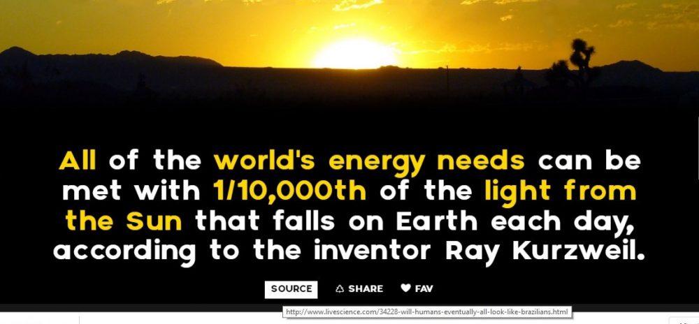 necesarul de energie din lume poatet fi îndeplinit cu 1 / 10.000 parte a luminii de la Soare , care cade pe Pământ în fiecare zi